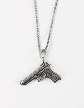 Hip Hop Gun Mini Çelik Titanyum Kolye FT1025GM