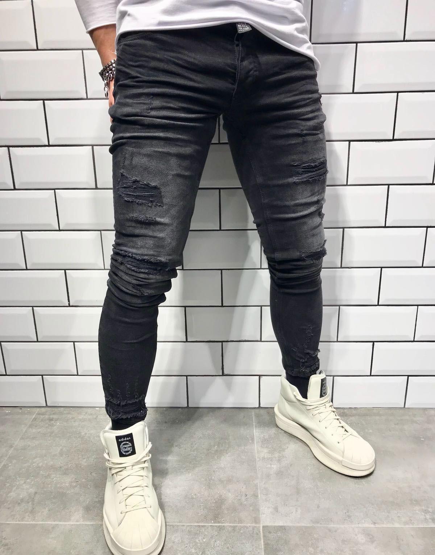 Pantolon Black Island Black Island Slim Fit Yırtık Erkek Jean